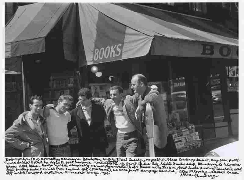"""Bob Donlon (Rob Donnelly, Kerouac's Desolation Angels,), Neal Cassady, myself in black corduroy jacket, Bay Area poets' 'Court Painter' Robert La Vigne & poet Lawrence Ferlinghetti in front of his City Lights book shop, Broadway & Columbus Avenue North Beach. ... San Francisco spring 1956."""