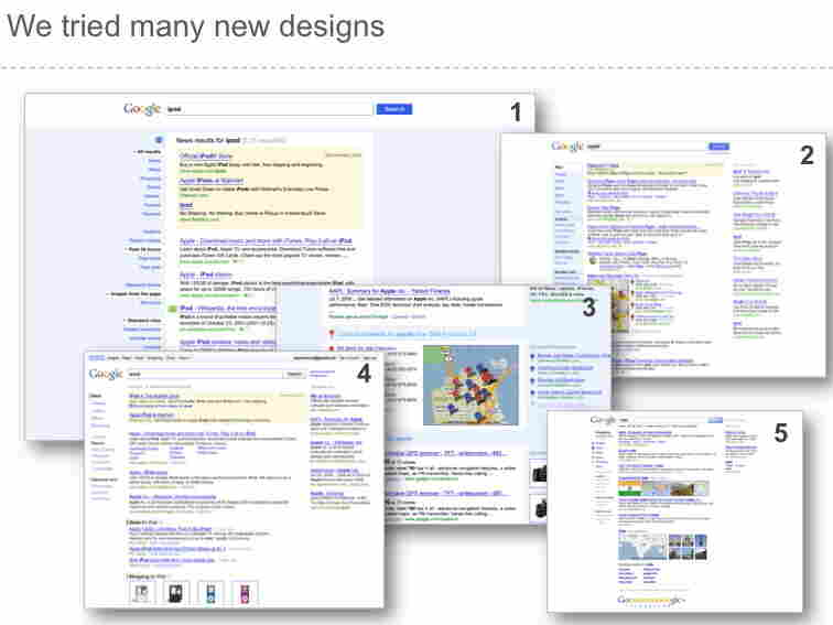 Google's rejected search results pages