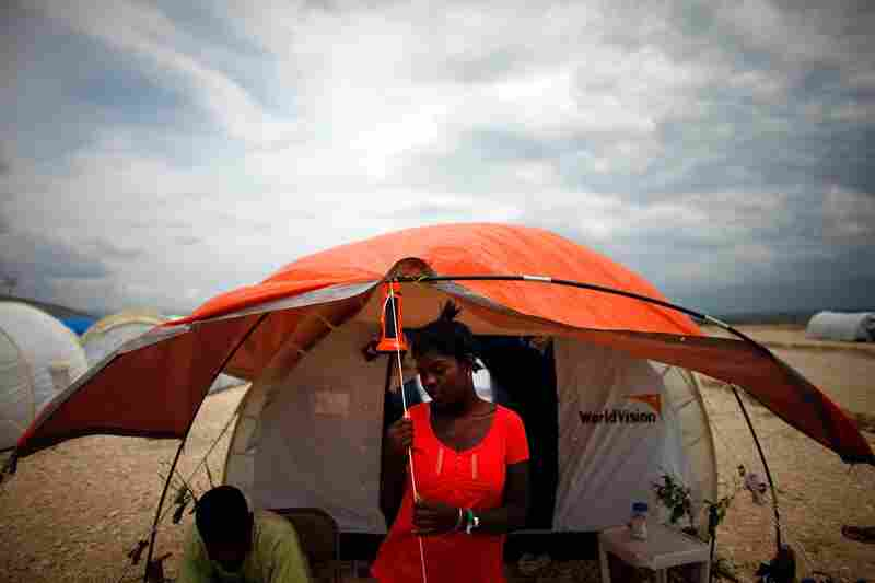Fabienne Desane waits for a storm to pass. Fortunately, Haiti's rainy season has thus far been relatively dry and has not caused too great a problem.