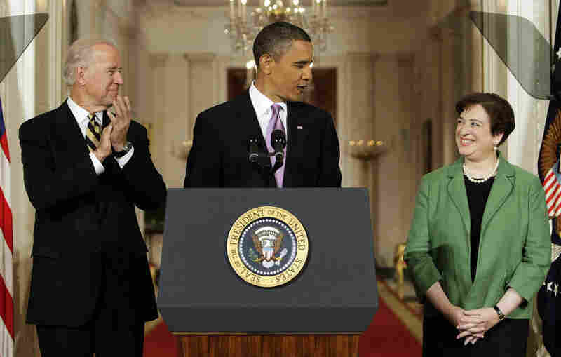 President Obama introduces U.S. Solicitor General Elena Kagan as his choice to replace retiring Supreme Court Justice John Paul Stevens in the East Room of the White House on Monday, as Vice President Biden applauds.
