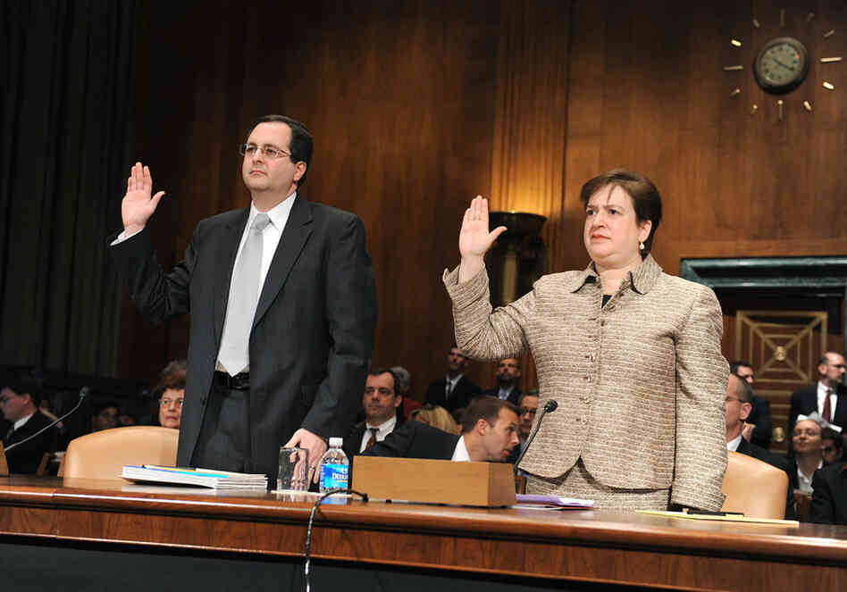 Kagan, then President Obama's nominee to be solicitor general, is sworn in prior to her confirmation hearing before the Senate Judiciary Committee on Feb. 10, 2009, along with Thomas Perrelli, nominated for the post of associate attorney general.
