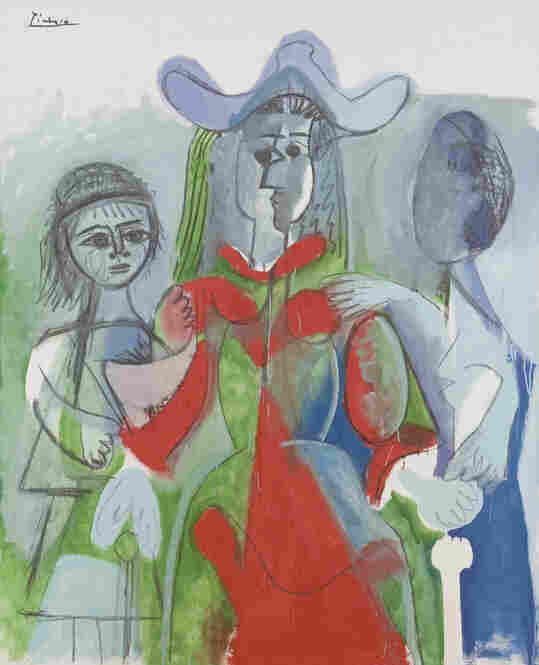 Femme et Fillettes by Pablo Picasso (April 20, 1961). Oil on canvas.