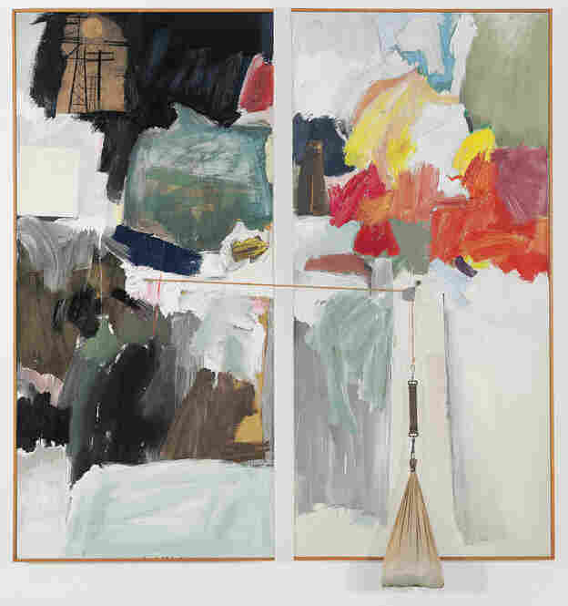 Studio Painting by Robert Rauschenberg (1960-1961). Combine painting: oil, charcoal, printed paper and fabric collage on canvas with metal, twin, sewn and stuffed fabric, in two parts.