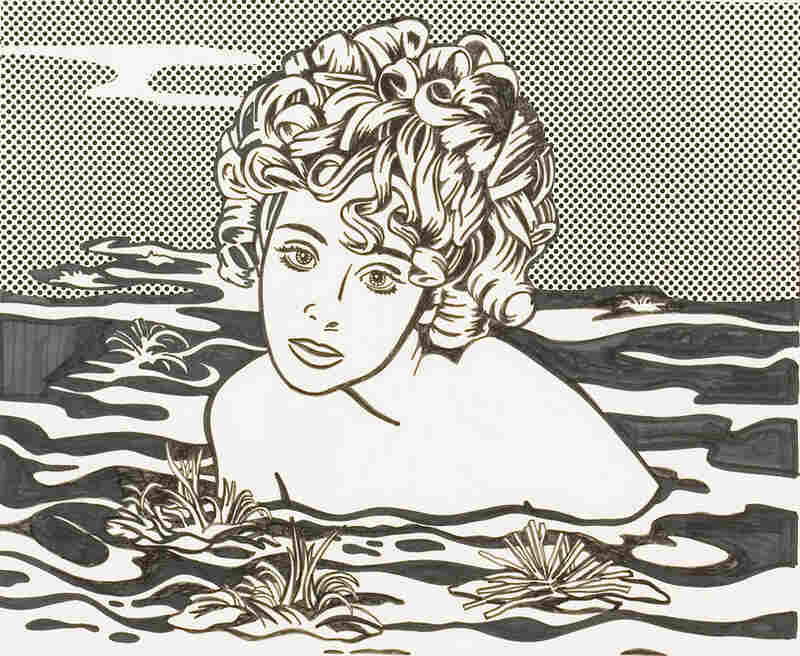 Girl in Water by Roy Lichtenstein (1968). Ink, graphite and paper collage on paper.