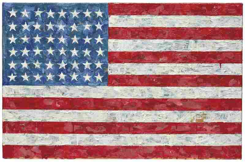 Flag by Jasper Johns (1960-1966). Encaustic and printed paper collage on paper laid down on canvas.
