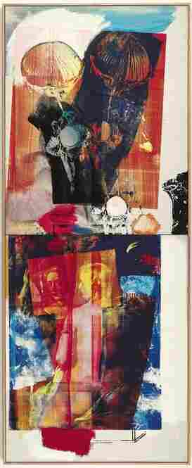 Trapeze by Robert Rauschenberg (1964). Oil and silkscreen on canvas, in two parts.