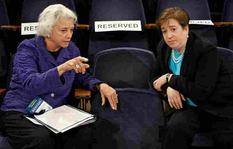Former Supreme Court Justice Sandra Day O'Connor talks with Kagan during a forum on the state of the judiciary at Georgetown University Law Center on May 20, 2009. If confirmed, Kagan would be the fourth woman to serve on the high court.