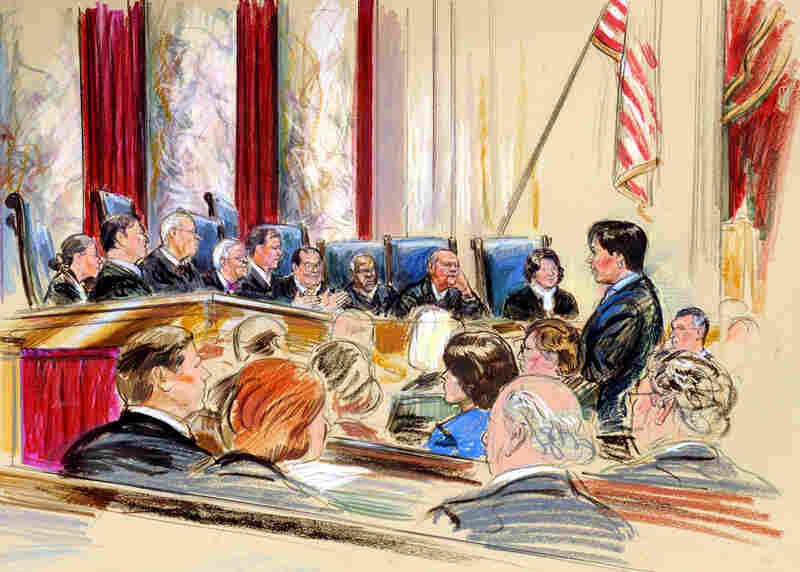 This artist rendering shows Kagan (right) arguing a campaign finance reform case before the Supreme Court on Sept. 9, 2009. Before becoming solicitor general, Kagan had never argued before the Supreme Court.