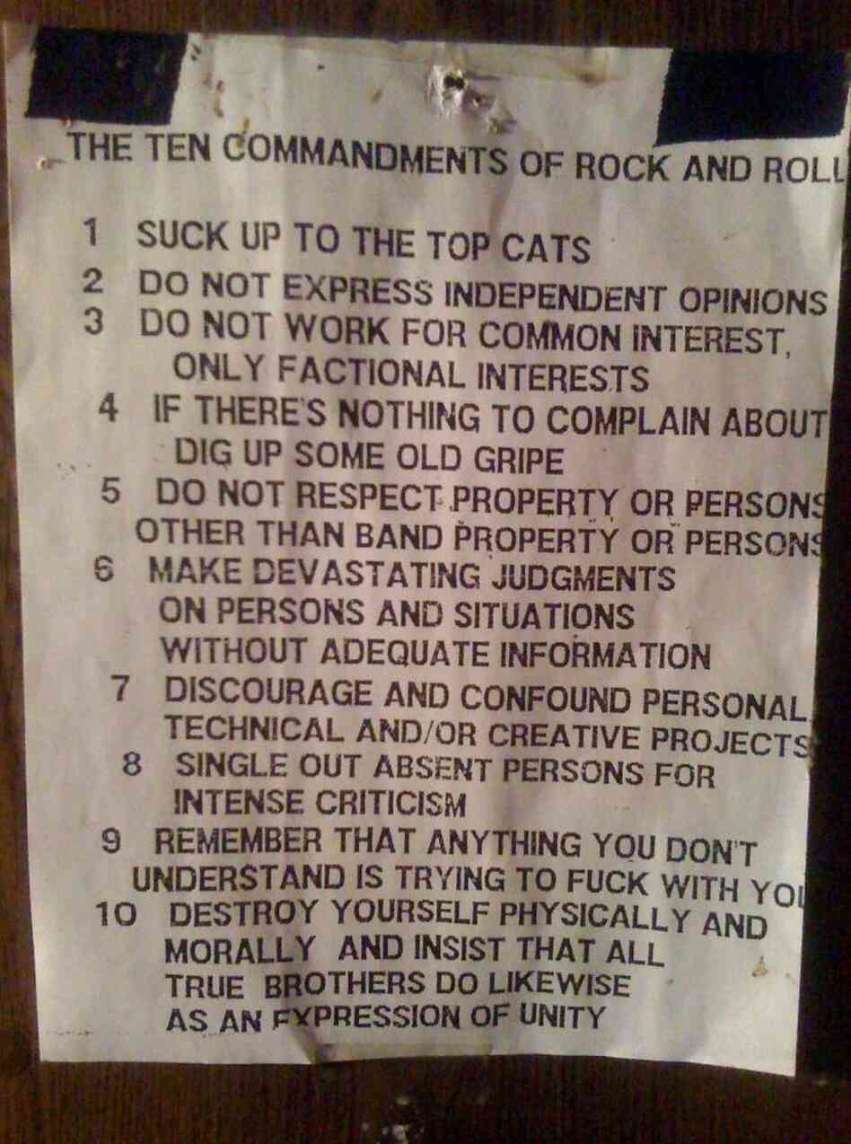 photo of a flier explaining the rules for rock roadies.