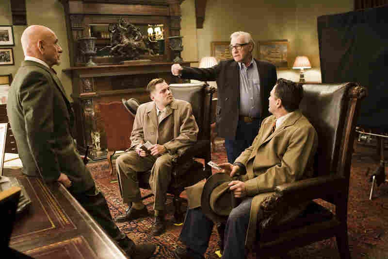 Martin Scorsese (second from right), director, 5 feet 4 inches, on the set of Shutter Island