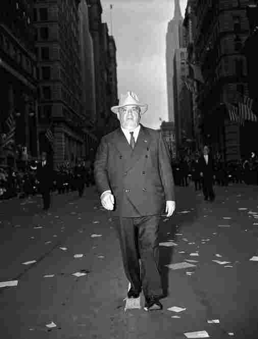 Fiorello La Guardia, mayor of New York, 5 feet 2 inches, leading the police department in a parade in New York City