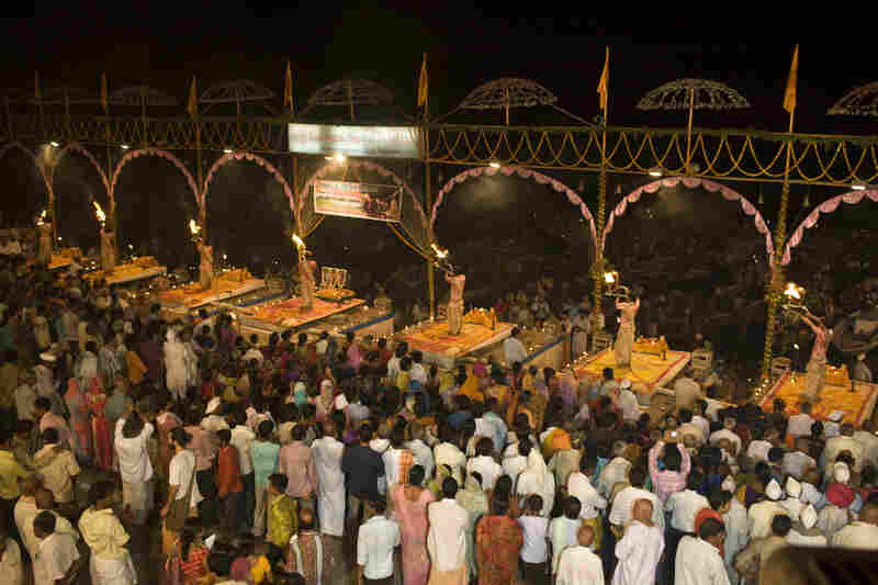 Hundreds of Shiva worshippers and tourists gather at the Dasaswamedh Ghat every evening for the puja.