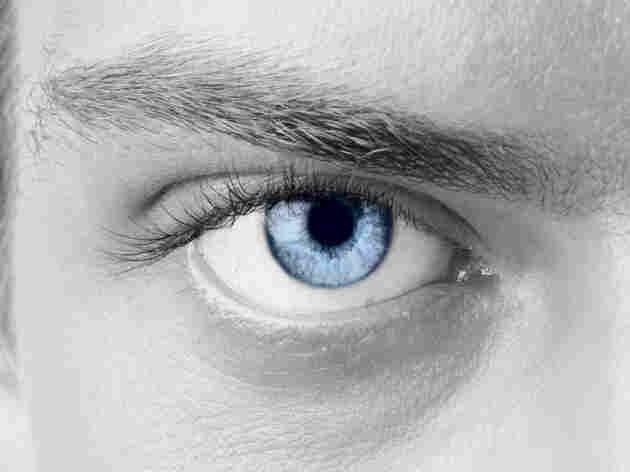 a man with a blue eye
