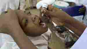 A girl gets an oral polio vaccine in Kano, Nigeria.