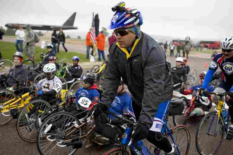 Guerrero competes in the 20k cycling race held at the Air Force Academy on May 13. Cold weather hampered the athletes, and he did not place in the event.