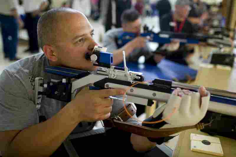 "Guerrero competes in the preliminary of the ""Air Rifle – Prone – Lower Body Impairment"" competition. He later won gold in the event, which came down to his last shot."