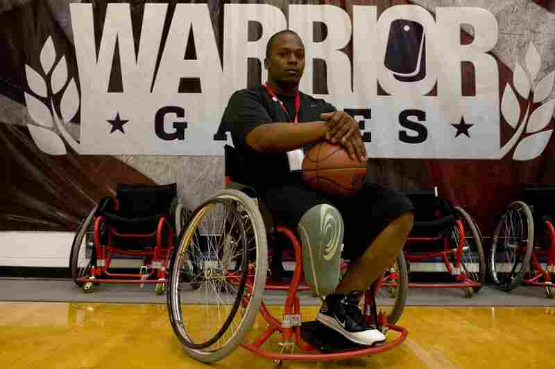 Army Spc. Craig C. Smith practices for the wheelchair basketball tournament at the Olympic Training Center in Colorado Springs. Smith is receiving treatment at Walter Reed Army Medical Center in Washington, D.C.