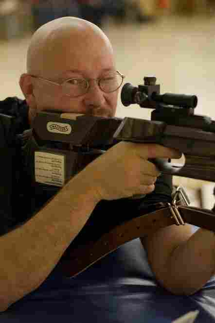 Army Staff Sgt. Charles Bunyard, from Fort Hood, Texas, practices before the air rifle shooting competition at the Olympic Training Center.