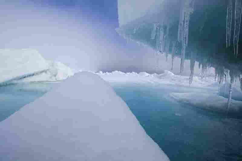 A pack ice landscape near the native community of Point Hope, Alaska, on the coast of the Chukchi Sea.