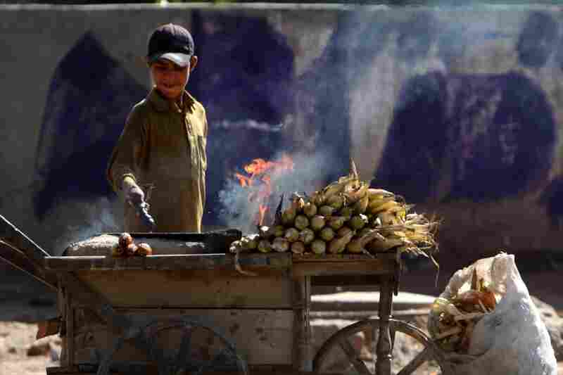 A boy roasts corn in a bowl of rock salt along a stretch of road west of Islamabad.