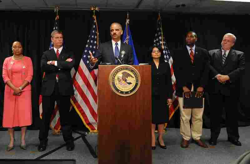 U.S. Attorney General Eric Holder announces that the Justice Department has launched a criminal investigation into the BP oil spill. With him, from left: Stephanie Finley and Jim Letten, U.S. attorneys for the Western District of Louisiana; Ignacia Moreno, assistant attorney general for the Environment and Natural Resources Division; Tony West, assistant attorney general, Civil Division; and Do...