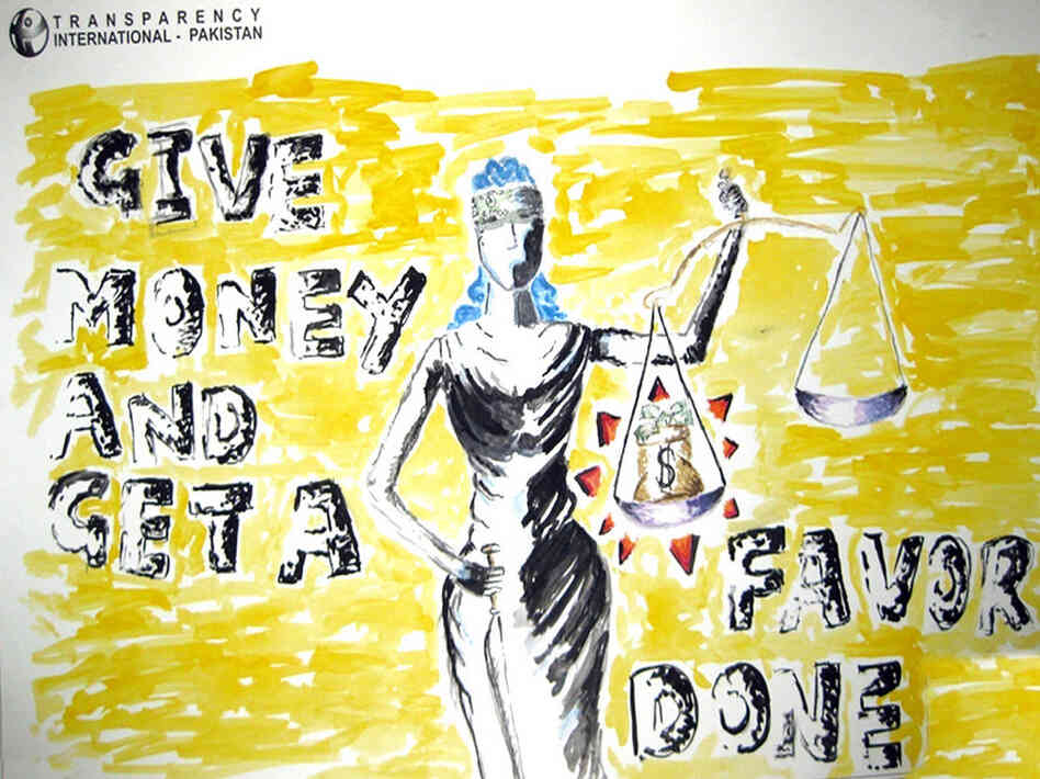 Money tips the scales in favor of those who have it, this poster suggests. Aqsa Hakeem Baloch of The City School PAF Chapters won first place of the entries in the school.