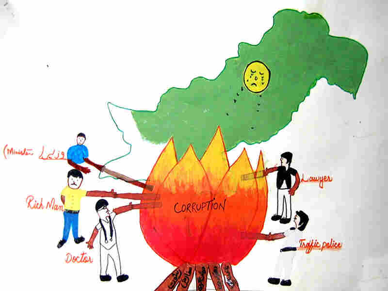 Cleverly, Sabina Khan used a campfire to suggest that people from all walks of society in Pakistan can get sucked into corruption. This poster won third place at The Citizens Foundation Southwest Region, Saeedabad Vitol II school.