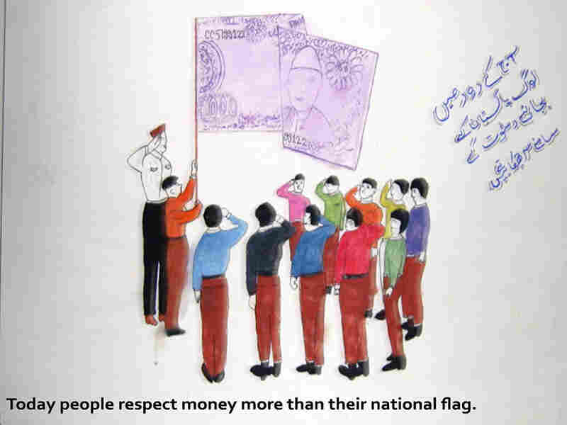 Citizens salute money instead of the national flag. The poster suggests they value wealth over national pride. The artist, Mohsin Ahmed Abbasi of Pakistan Public GBSS Malir school, won second place in the school.