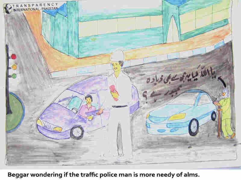 A rogue driver greases the palm of a traffic cop while a beggar cries foul.