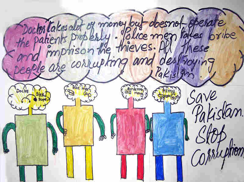 """Save Pakistan. Stop corruption,"" this poster reads. Its creator calls upon society's leaders to resist the temptations of bribes and underhanded deals. Ramsha of The City School Nawabshah won second place in the school."