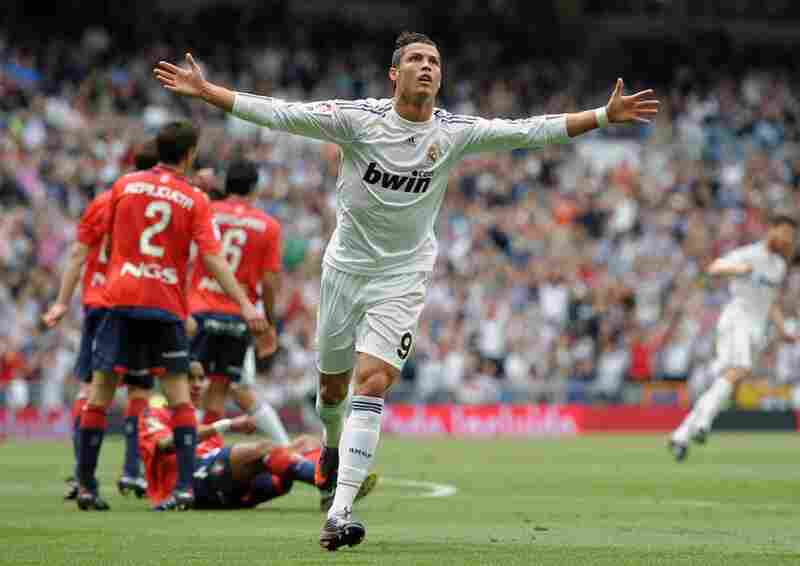 Cristiano Ronaldo of Real Madrid celebrates after scoring in a recent match. Aside from being a great Portuguese midfielder, he has also been romantically linked to actress and socialite Kim Kardashian.