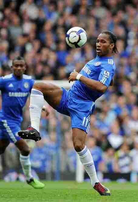 Striker Didier Drogba is the all-time top scorer for the Ivory Coast national football team. Here, he's seen in action for Chelsea, of the English Premier League.
