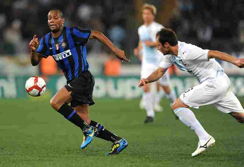 Defender Douglas Maicon Sisenando (left) will represent Brazil in his first World Cup appearance. Here, Maicon is seen in a recent game, playing for Inter Milan.