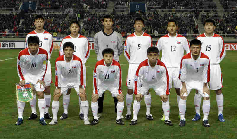 North Korea's national soccer team is making its first World Cup appearance since 1966. Here, players pose before a World Cup qualifying match against South Korea in Seoul, April 1, 2009.