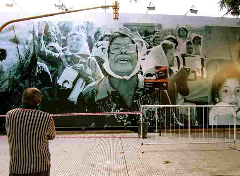 A photo mural shows the Abuelas (grandmothers) of the Plaza de Mayo, who walked daily in protest over desaparecidos (disappeareds), loved ones abducted by the country's military dictatorship in the 1970s and '80s.