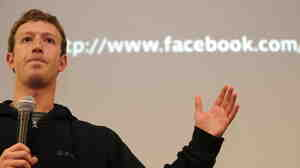 Mark Zuckerberg speaks during a press conference, May 26, 2010.
