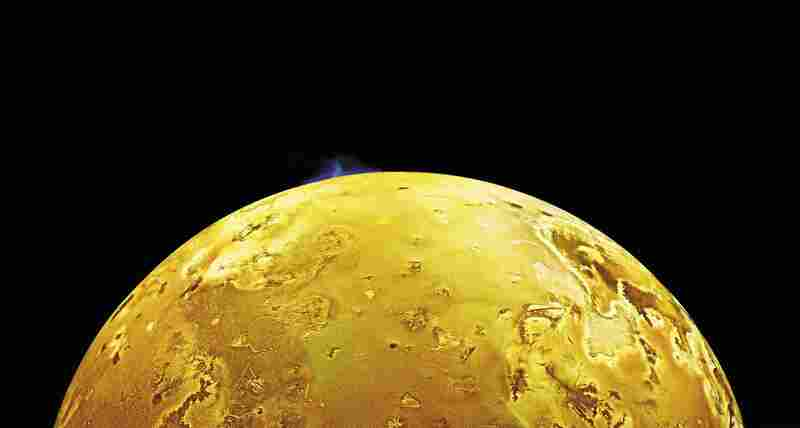 Erupting Into Space An 86-mile-high volcanic plume explodes above the horizon of Jupiter's moon Io. The plume is erupting over a caldera (volcanic depression), named Pillan Patera, after a South American god of thunder, fire and volcanoes. Galileo, June 28, 1997.