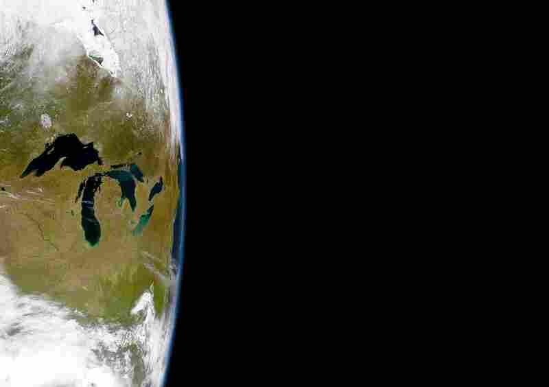 The Great LakesThe Great Lakes contain about 22 percent of the Earth's supply of fresh water. In this eastward view, the East Coast of the United States can be seen, including Long Island and Cape Cod to the right. OrbView-2 commercial satellite, April 24, 1999.