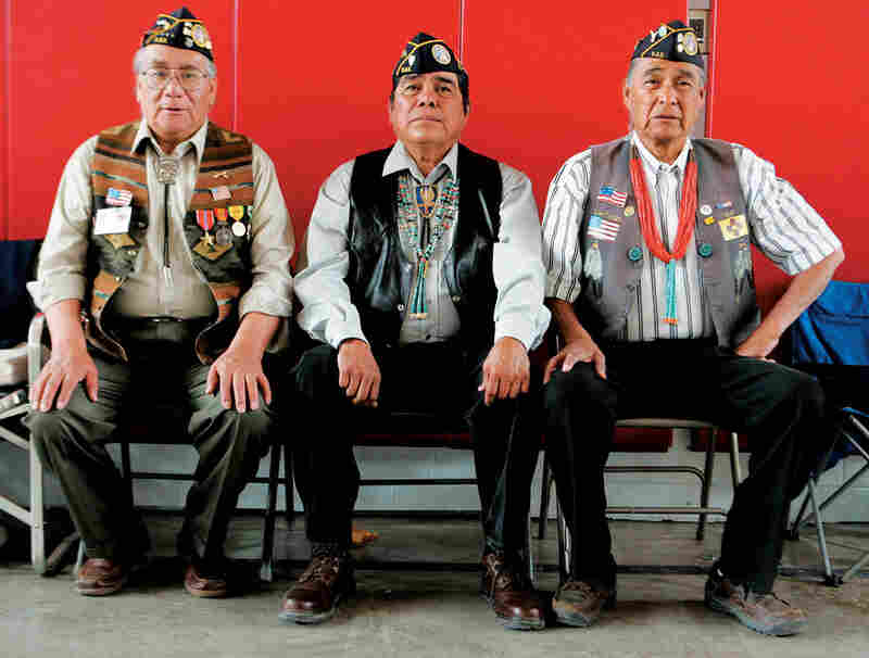 An honor guard consisting of members from Santa Domingo Pueblo wait to present colors at Lt. Ayon's warrior dance in 2008.