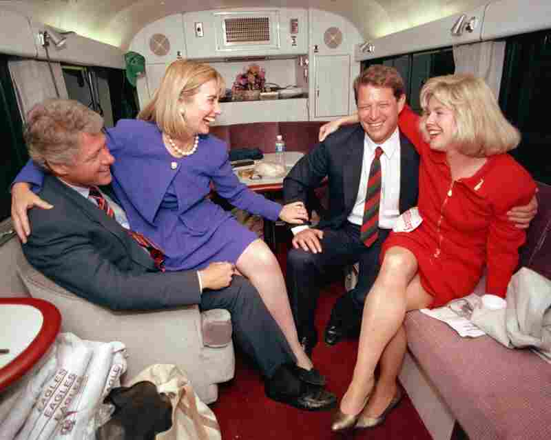 The Democratic presidential ticket of Bill Clinton and Al Gore, with their wives, Hillary Rodham Clinton and Tipper Gore, during a brief rest from the 1992 campaign in Durham, N.C.