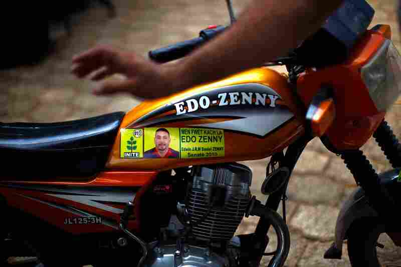 Edo Zenny, mayor of Jacmel, says things have improved to a point where he feels comfortable asking Port-au-Prince refugees to go home. Pictured here is an Edo Zenny bike. The mayor controls the motorcycles that are imported to Jacmel; hence the bike's name.