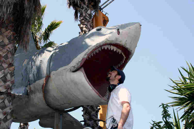 "NPR reporter Cory Turner meets the fourth Bruce ... and finally gets to ""touch the shark."" This Bruce was not used in the movie but appears to have been cast from the now-lost Bruce mold. It hung on display at Universal Studios from 1975 until 1990 and now sits high above the U-Pick Parts yard owned and operated by Aadlen Bros. Auto Wrecking in Sun Valley, Calif."