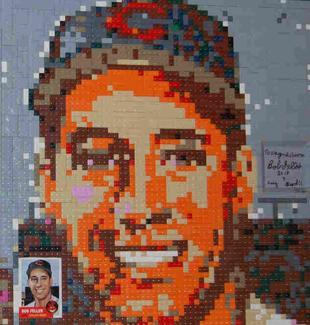 Bob Feller of the Cleveland Indians. Lego portrait by Wayne Peltz.
