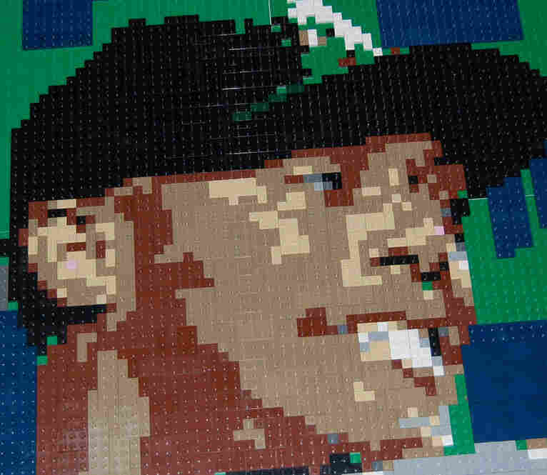 Mariano Rivera of the New York Yankees. Lego portrait by Wayne Peltz.