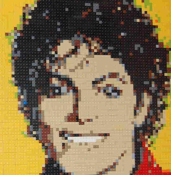 Michael Jackson. Lego portrait by Wayne Peltz.