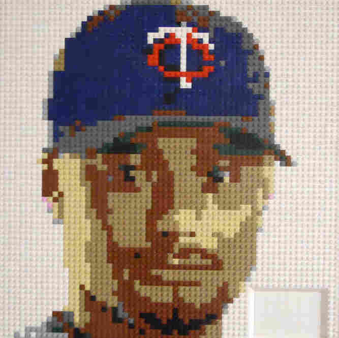 Johan Santana of the New York Mets. Lego portrait by Wayne Peltz.