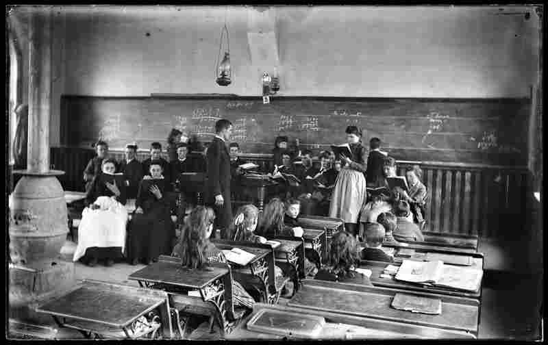 Schoolhouse interior, possibly Mount Pleasant, Ohio, early 20th century, Walter J. Hussey