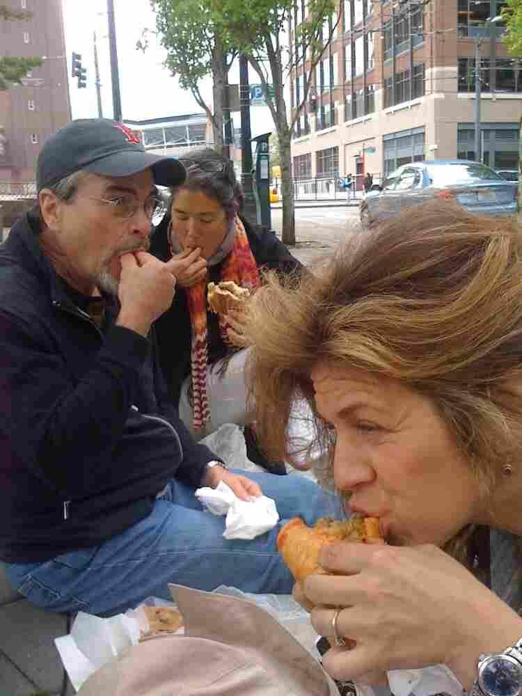 Enjoying sandwiches at Salumi.