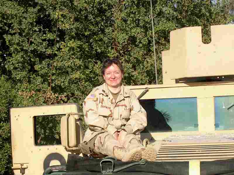 "Dyarman in Iraq, December 2005. A few weeks later she would be involved in two bomb blasts, resulting in her traumatic brain injury. ""One of the first things you learn as a soldier is that you never leave a man behind,"" said Dyarman. ""I was left behind."""