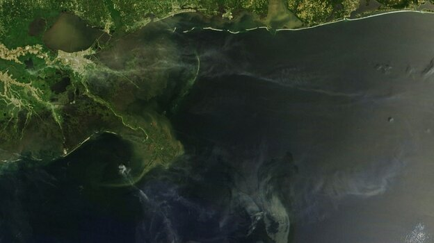 A NASA satellite captured this image of the BP oil spill on May 10.